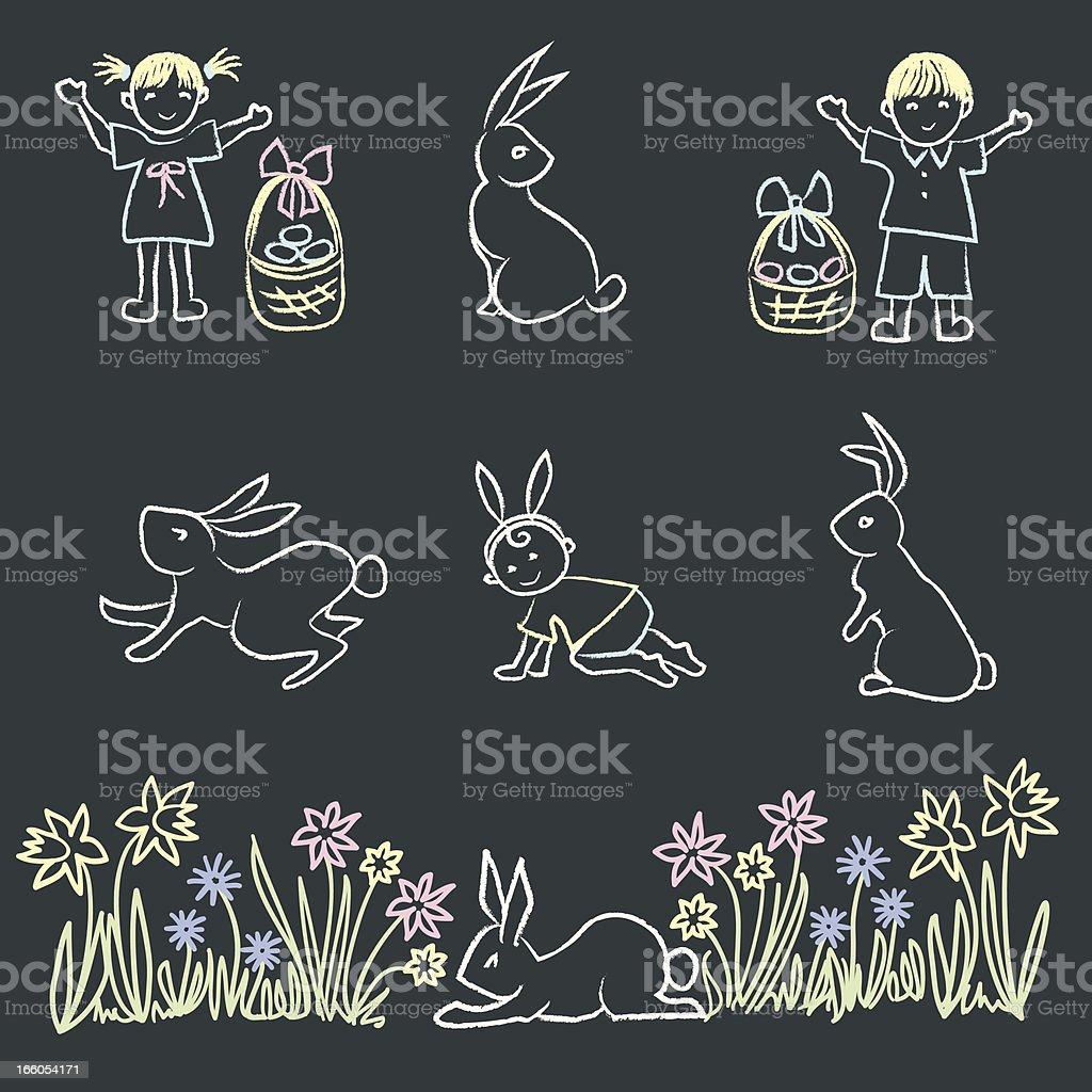 Easter themed chalk doodle elements. royalty-free stock vector art