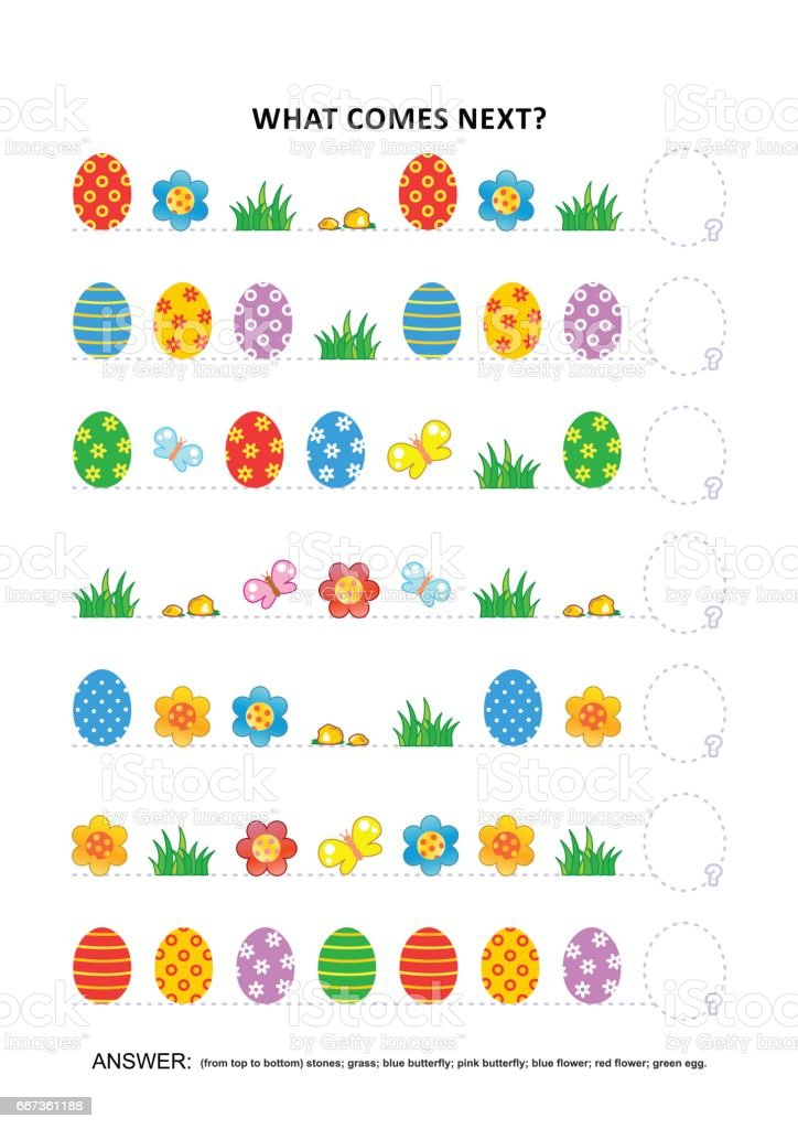 Easter themed educational logic game - sequential pattern recognition vector art illustration