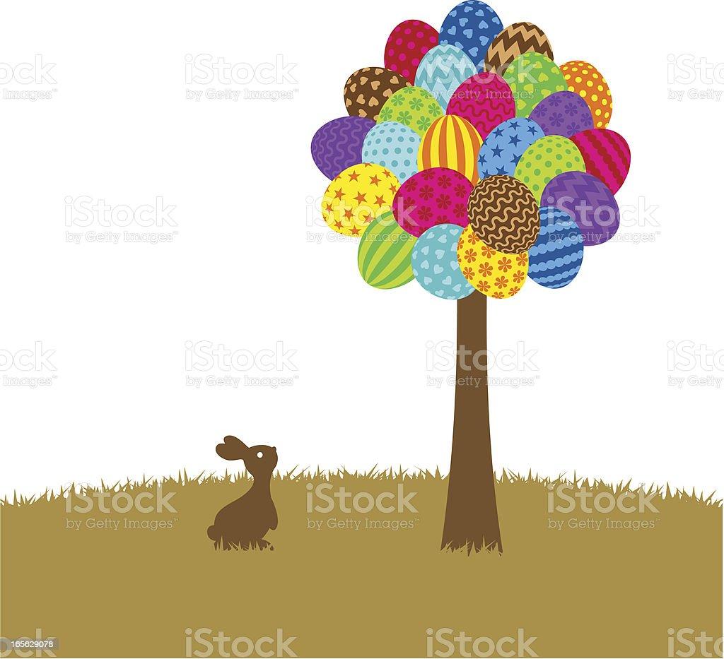 Easter tree vector art illustration