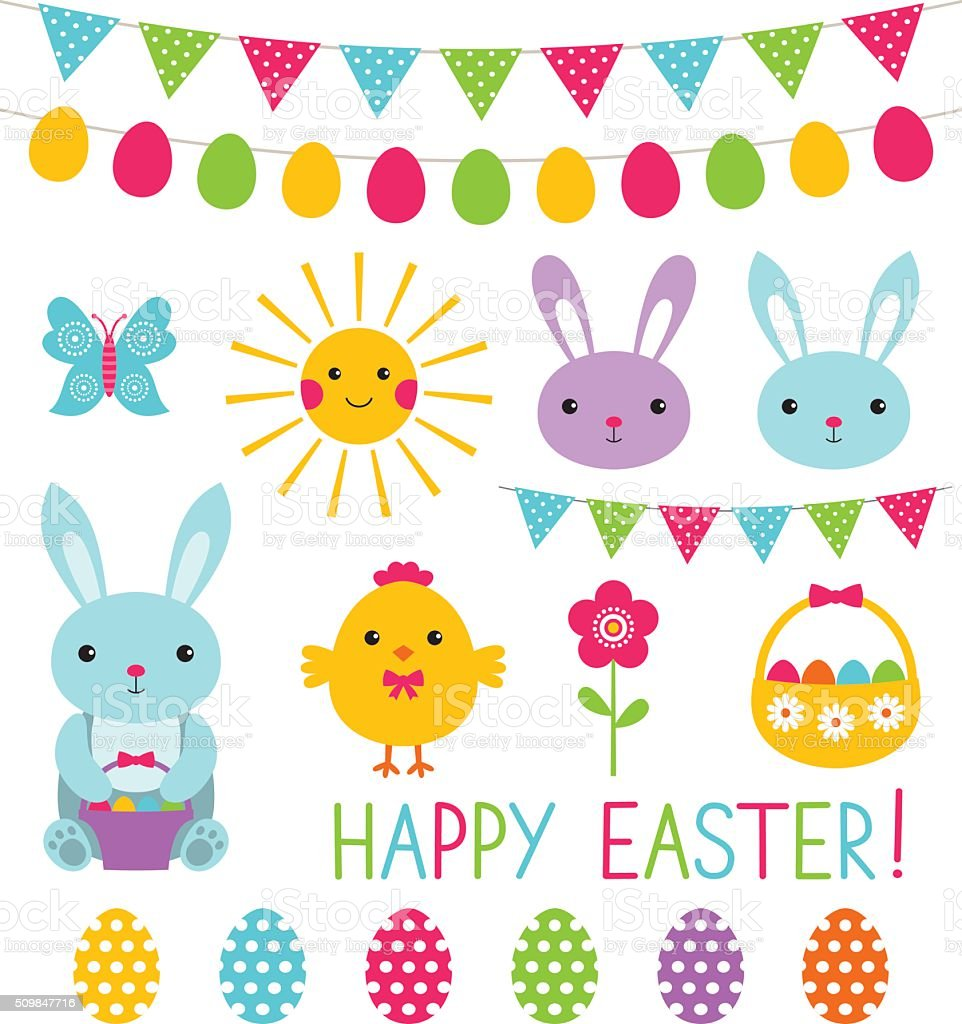 Easter vector elements collection vector art illustration