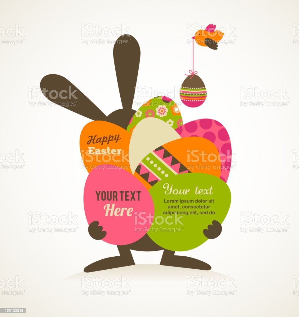 Easter vintage style greeting card vector art illustration