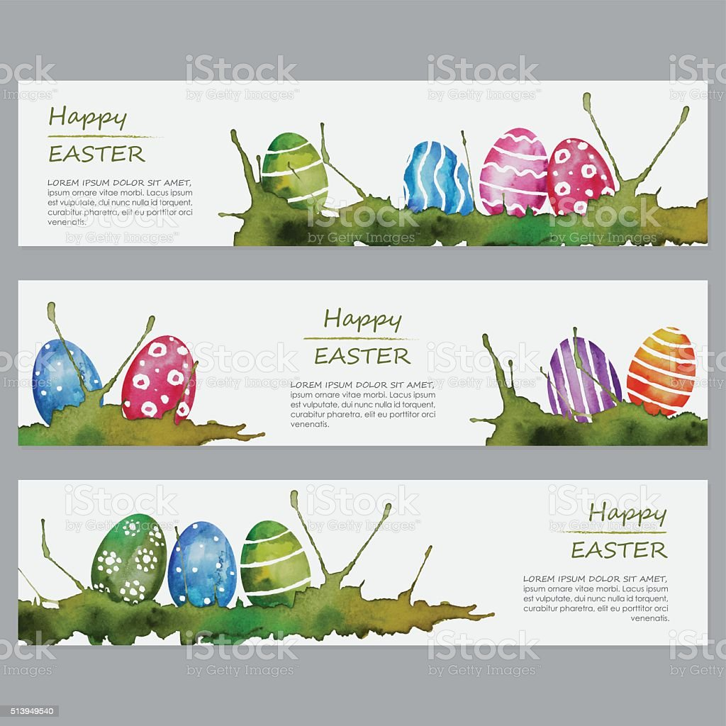 Easter Watercolor Eggs Banners vector art illustration