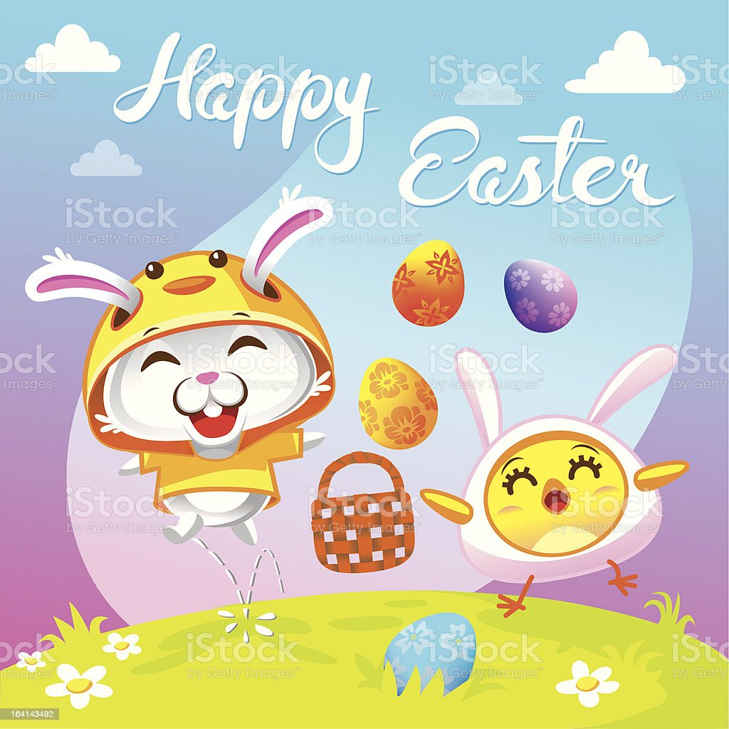 Easter Wish - Festive Greetings from Bunny and Chicken royalty-free stock vector art