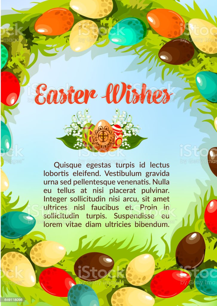 Easter wishes paschal eggs vector poster template vector art illustration