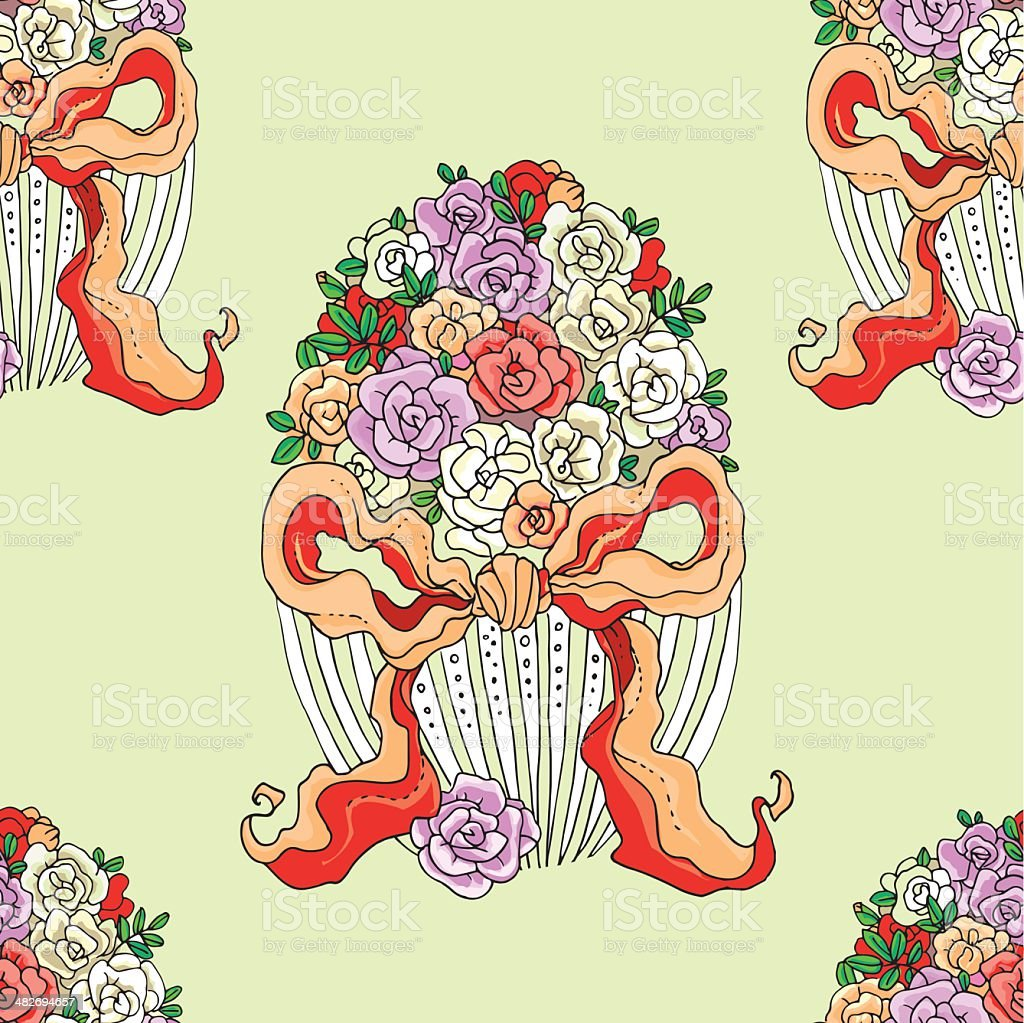 easter_background_with_egg_vase_with_flowers_in_retro_style royalty-free stock vector art