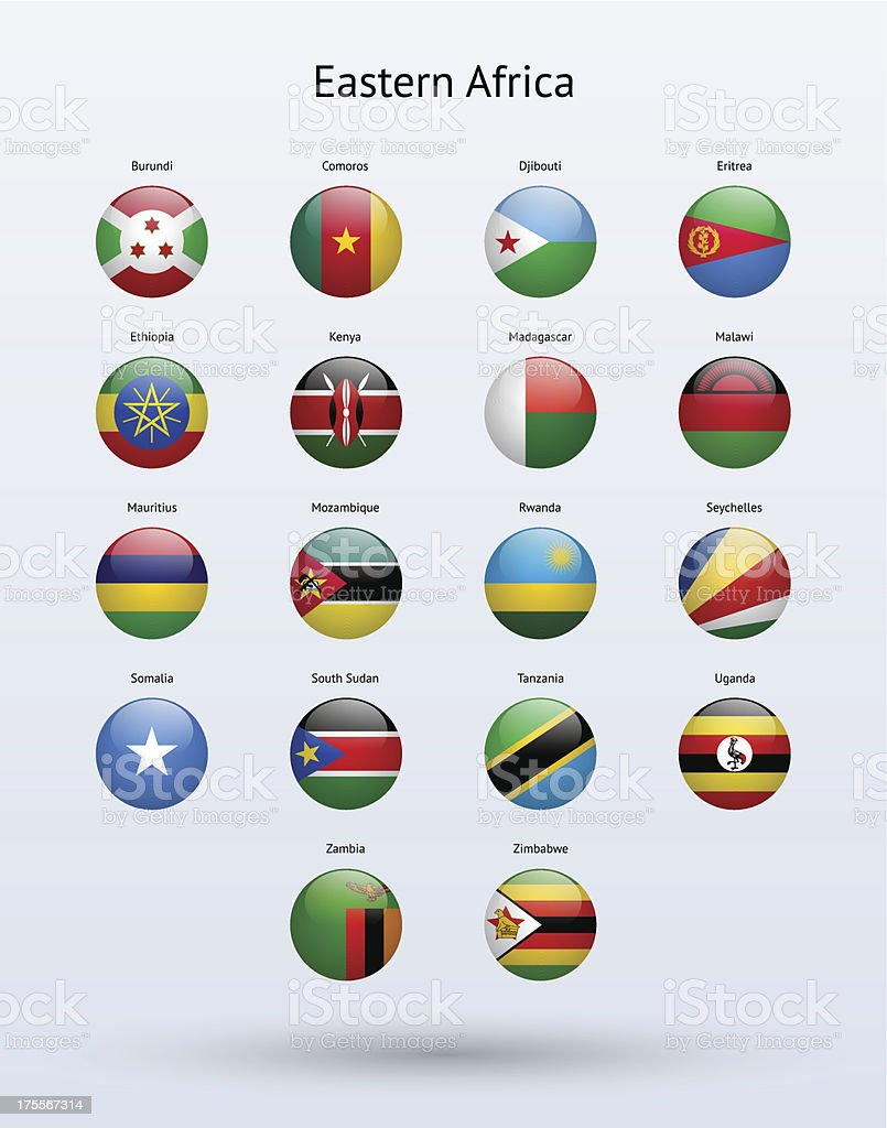 Eastern Africa Round Flags Collection royalty-free stock vector art