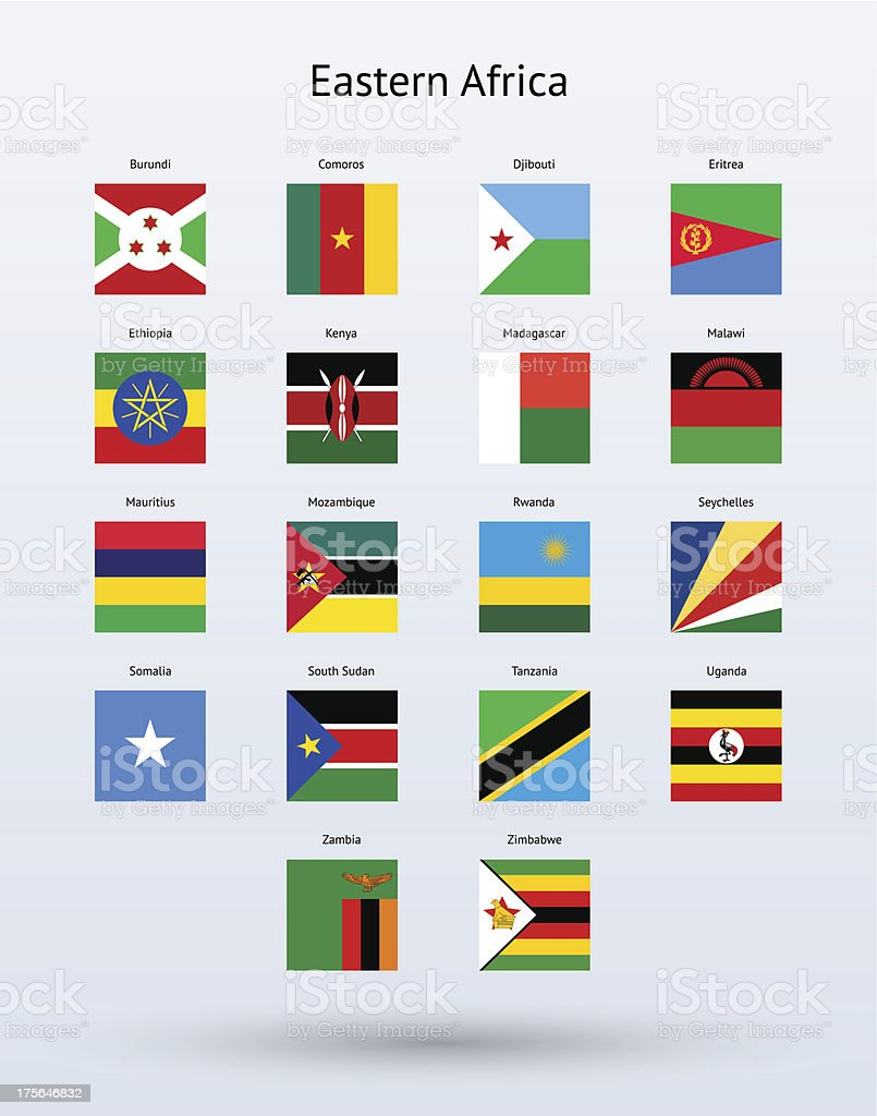 Eastern Africa Square Flags Collection royalty-free stock vector art