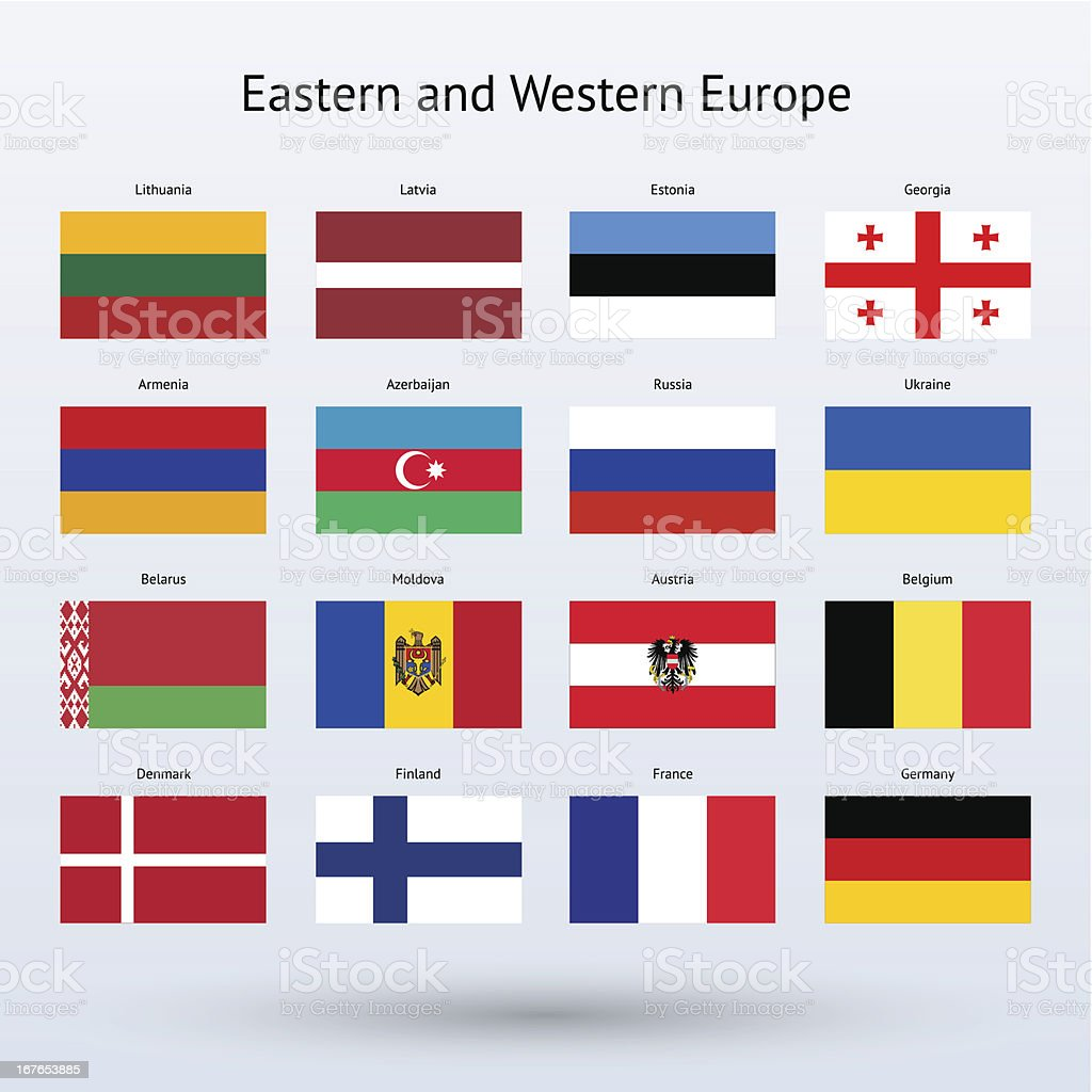 Eastern and Western Europe Flags Collection vector art illustration