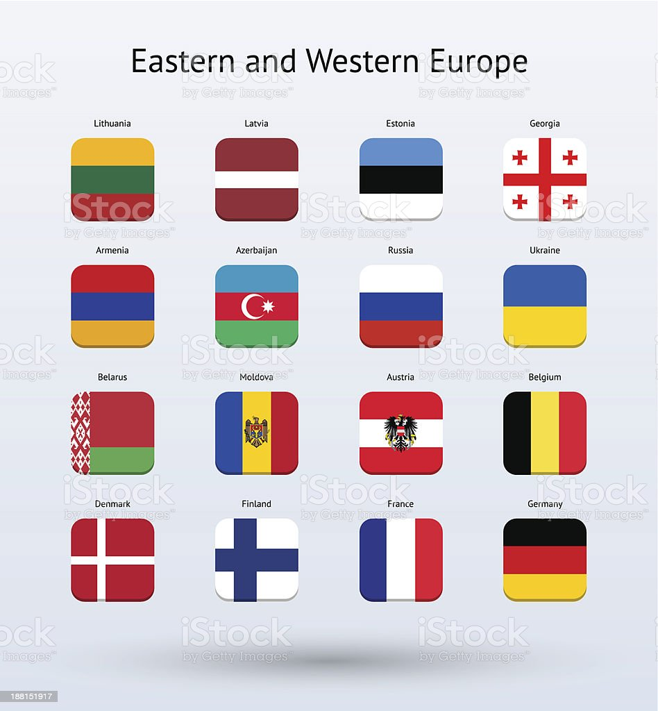Eastern and Western Europe Square Icons Flags Collection royalty-free stock vector art