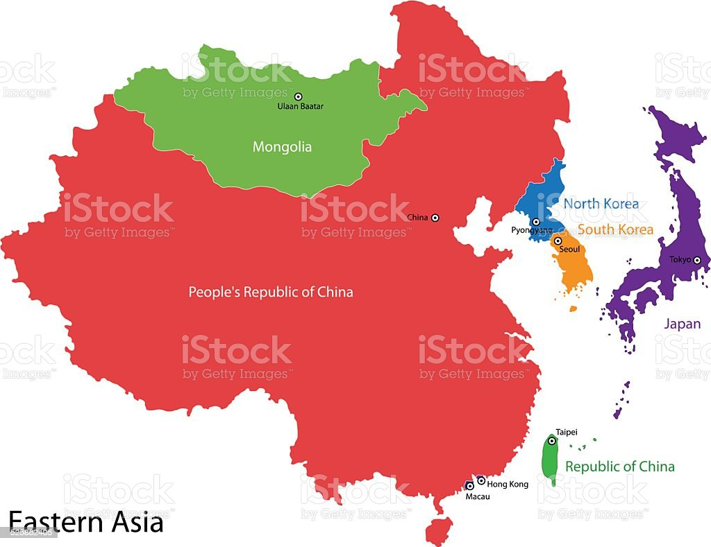Eastern Asia map vector art illustration