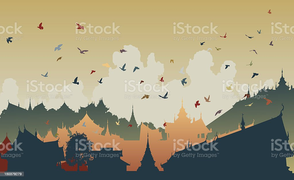 Eastern bird city royalty-free stock vector art