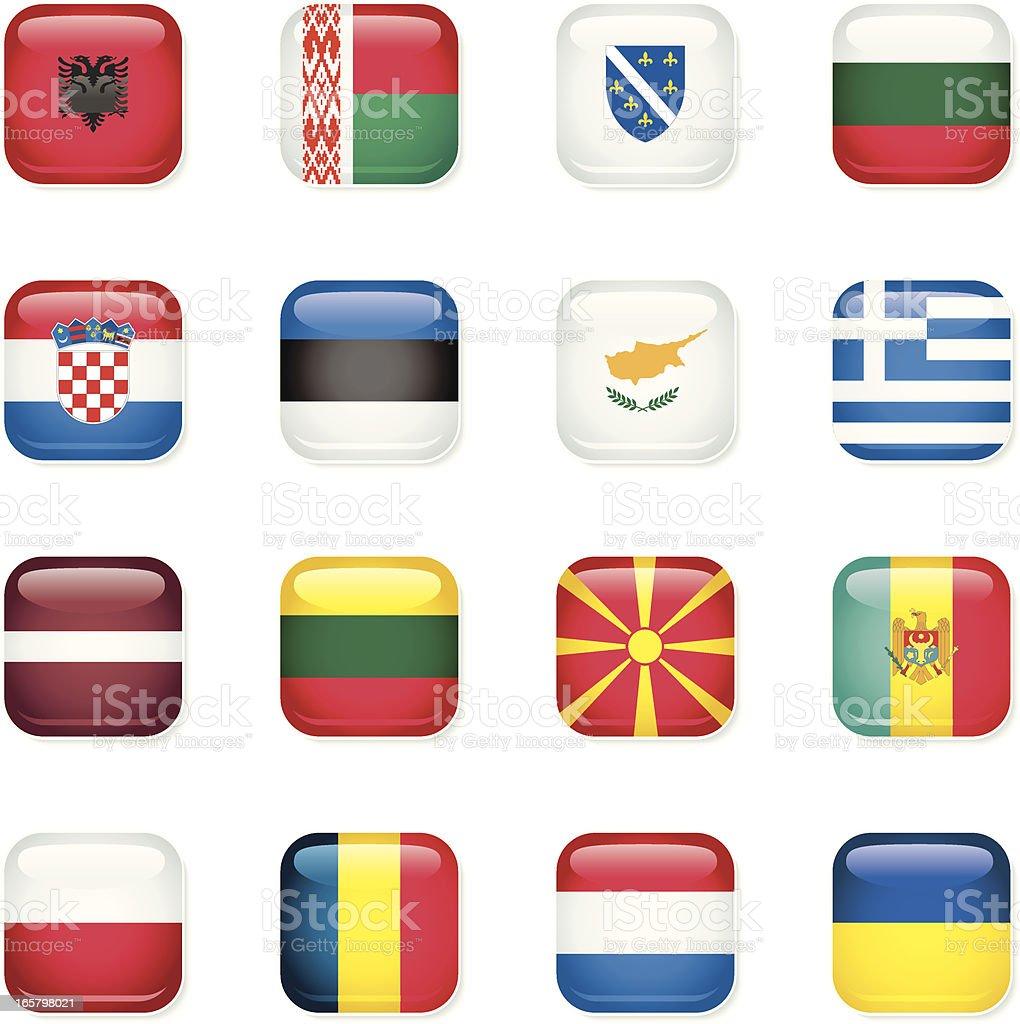 Eastern Europe Icon Flags vector art illustration