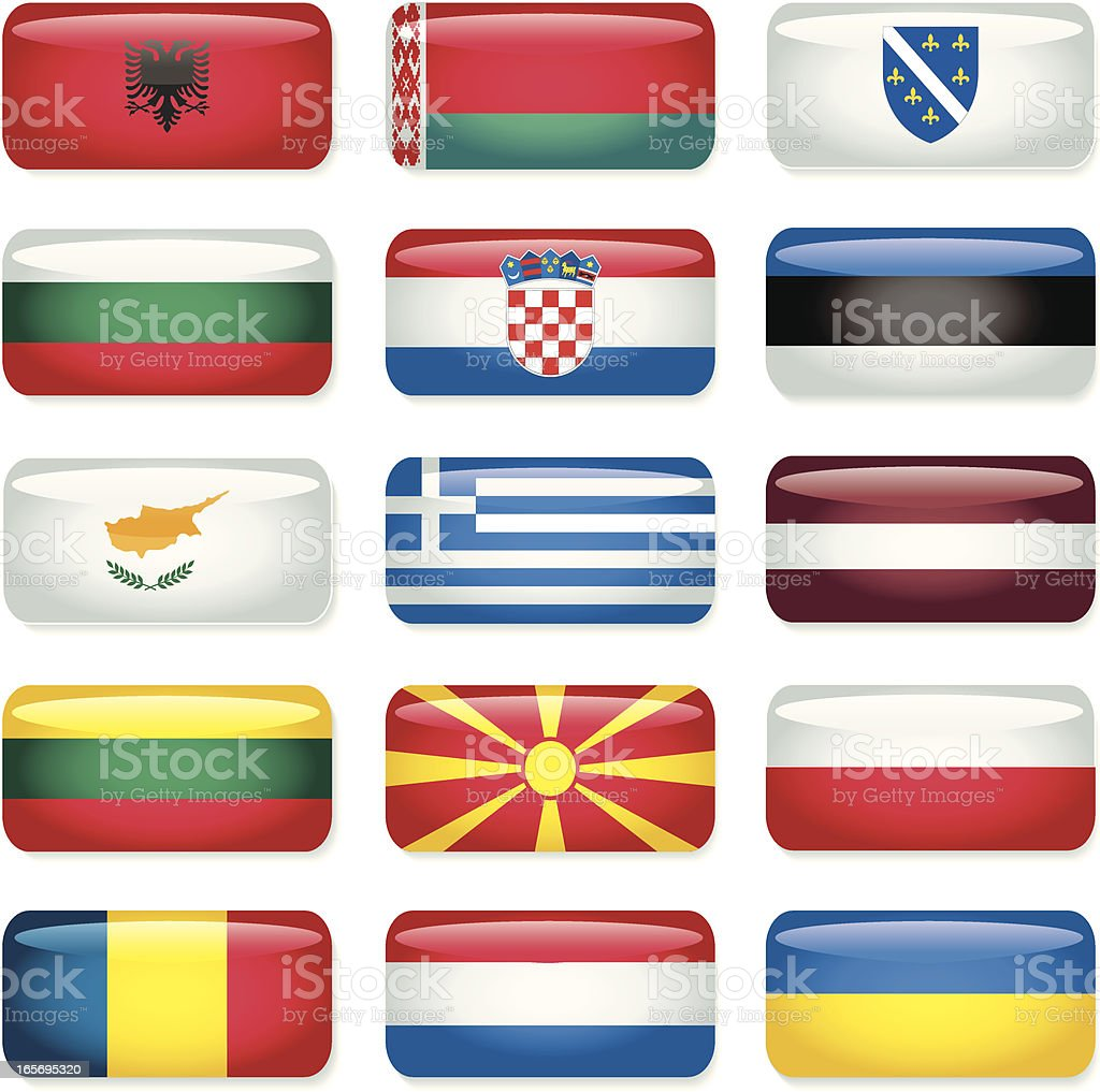 Eastern Europe Rectangular Flags vector art illustration