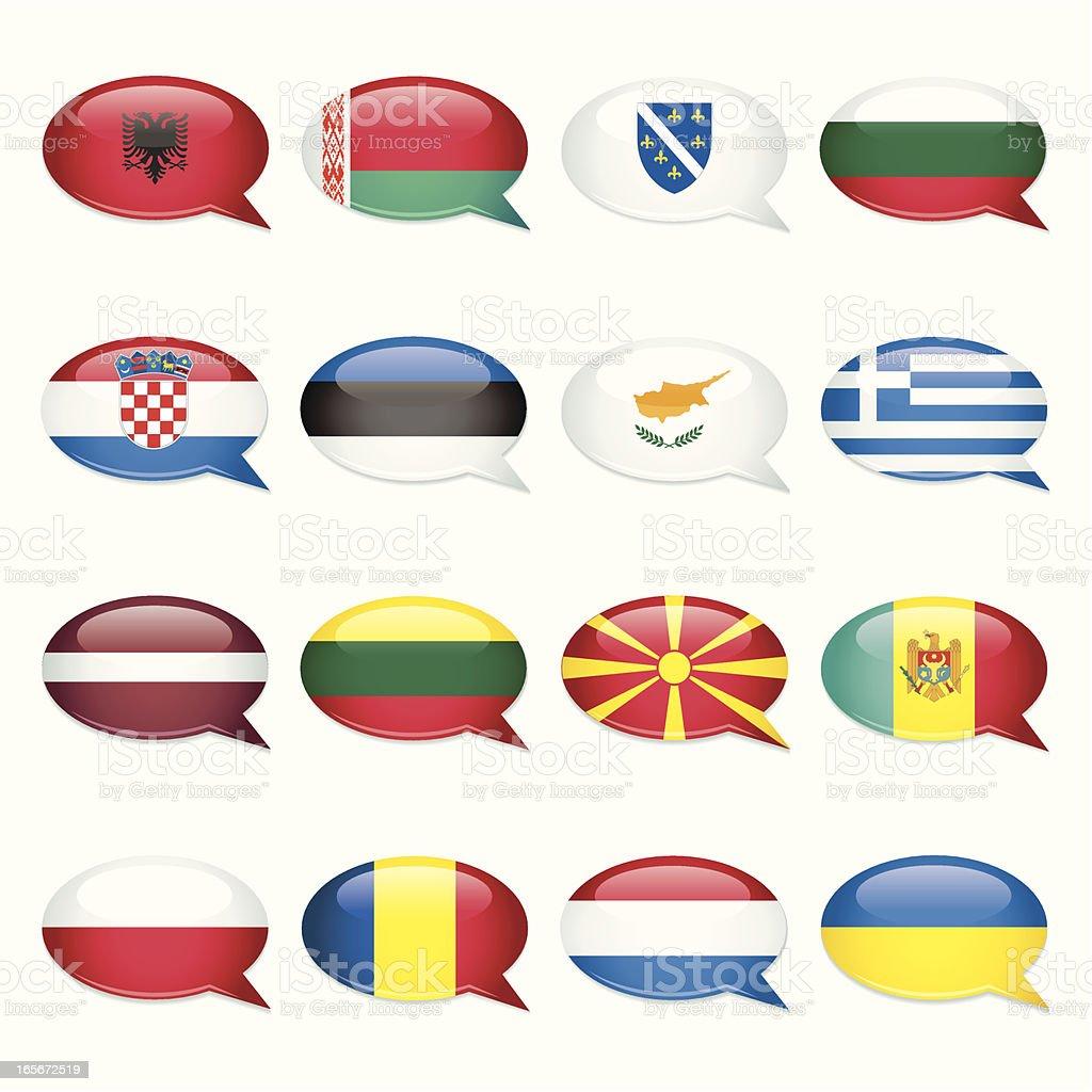 Eastern Europe Speech Bubble Flags vector art illustration