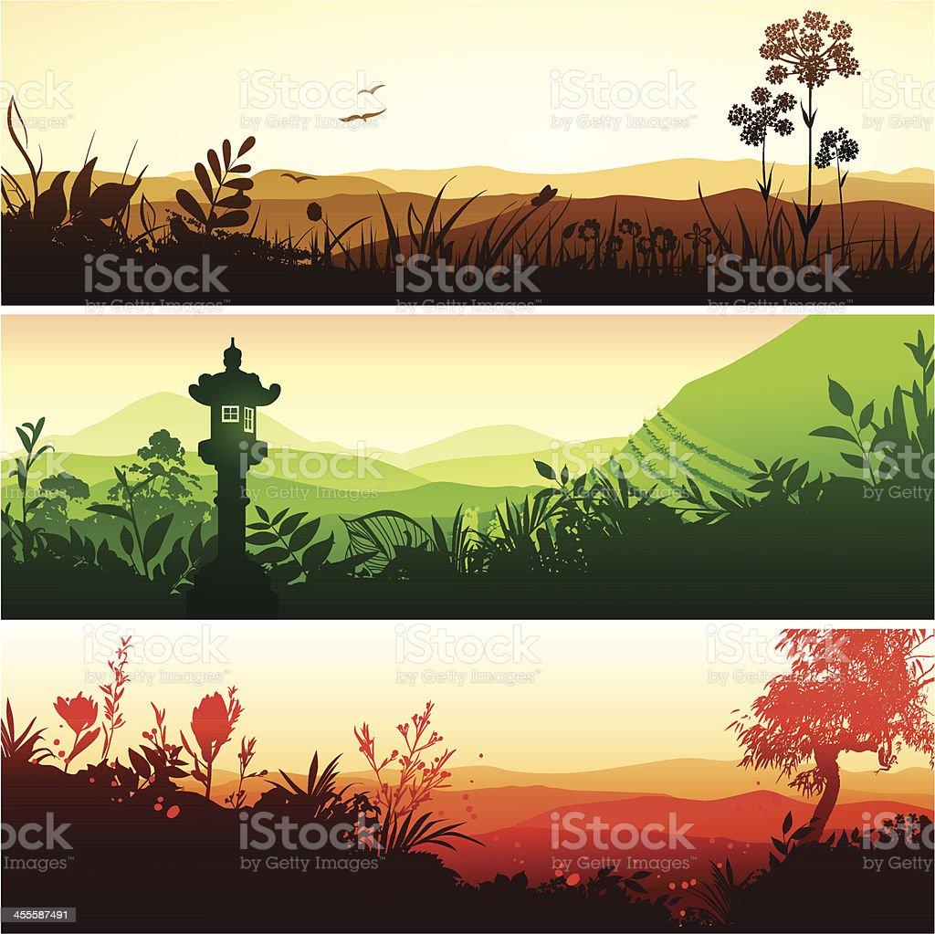 Eastern landscapes vector art illustration