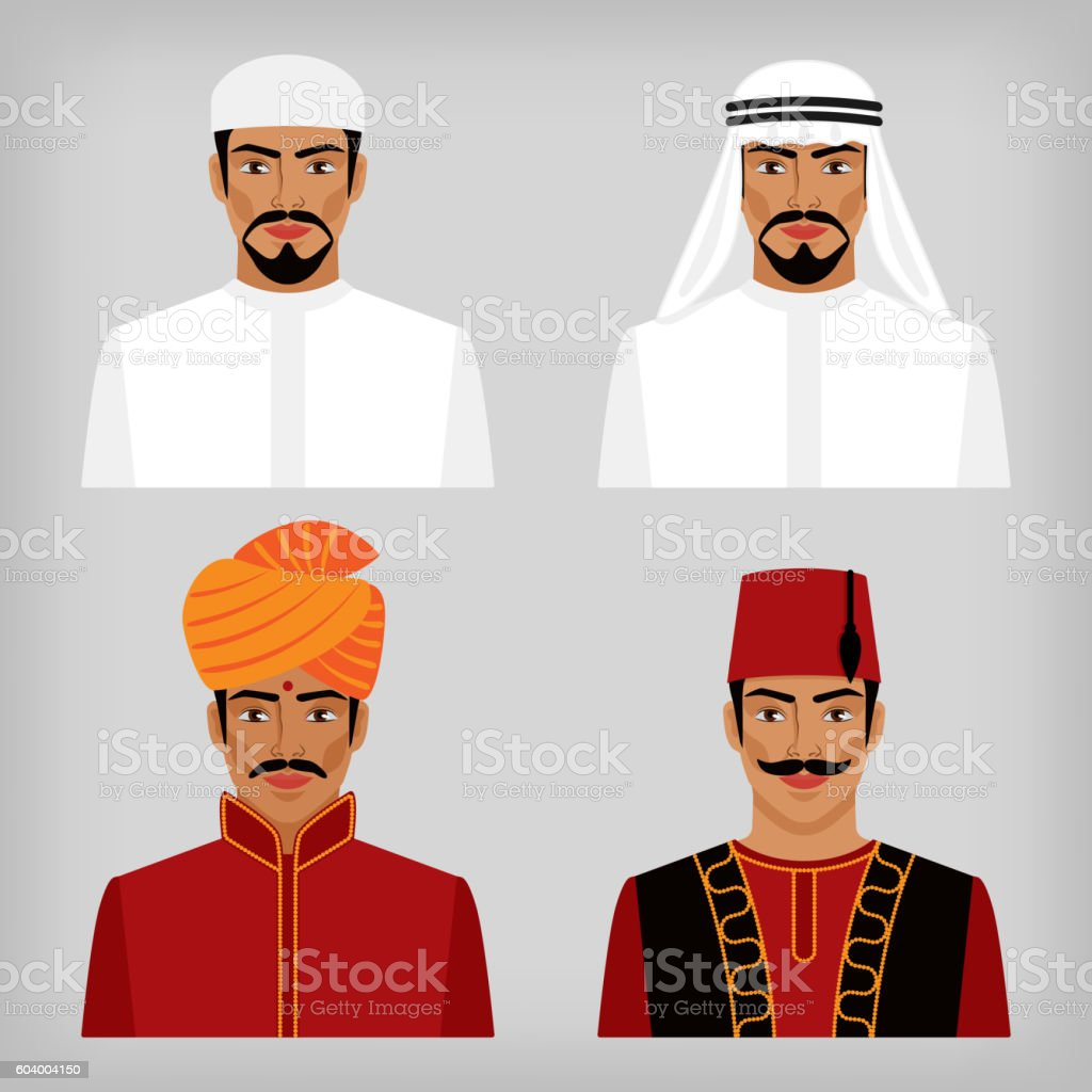 Eastern men in traditional clothes vector art illustration