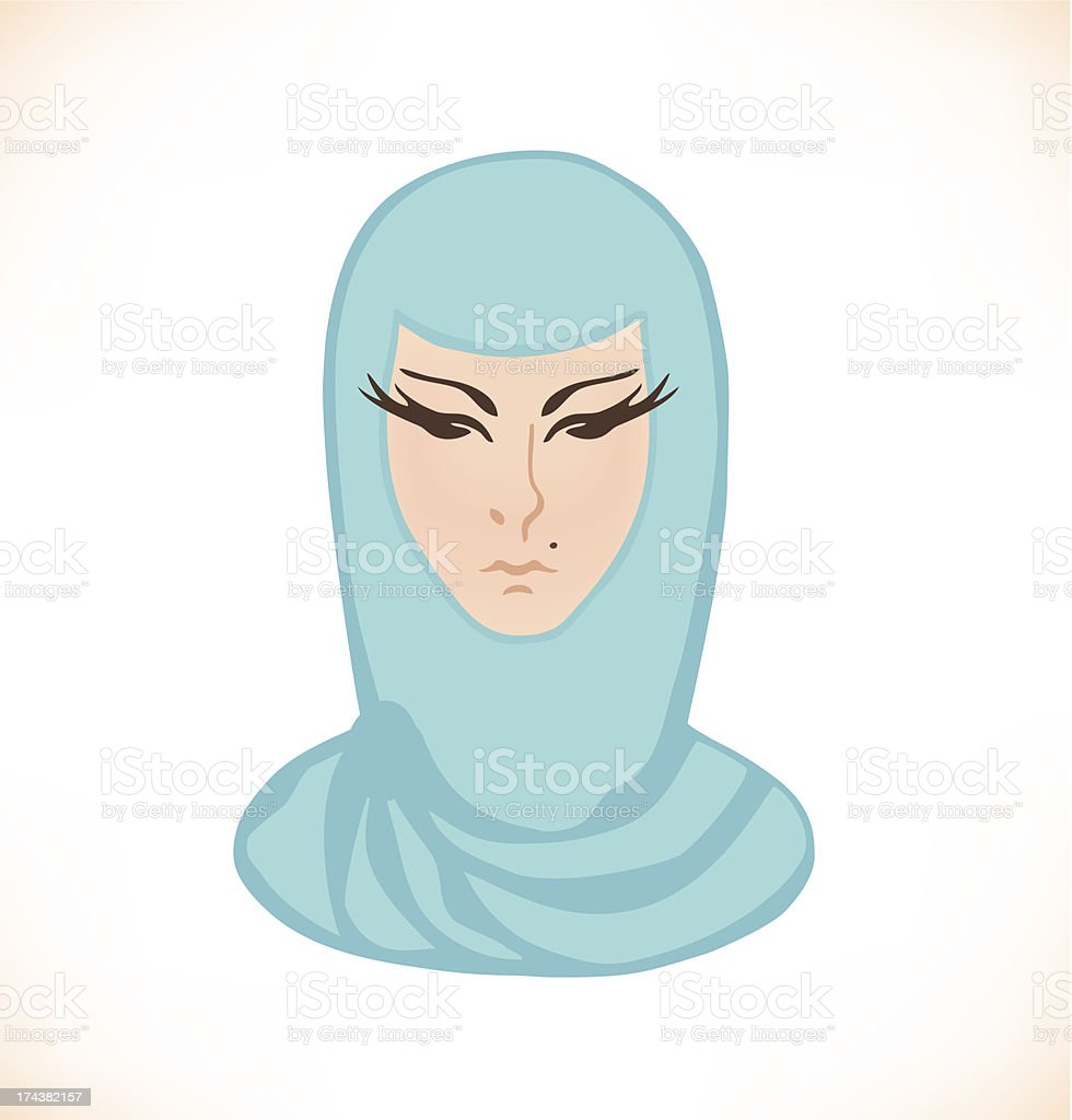 Eastern woman face isolated on white royalty-free stock vector art
