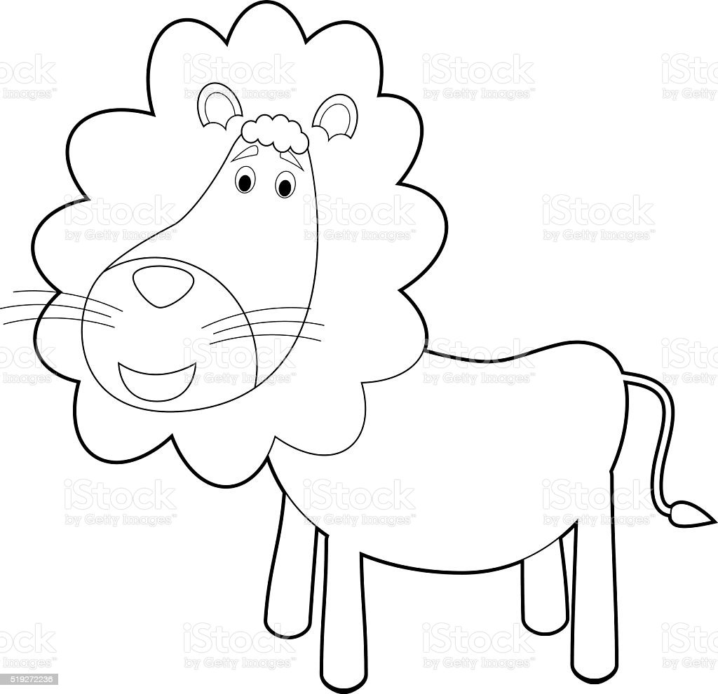 Easy Coloring Animals for Kids: Lion vector art illustration