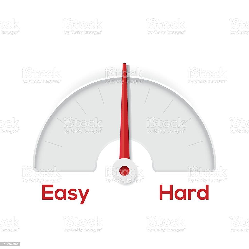 Easy hard indicator gauge vector art illustration