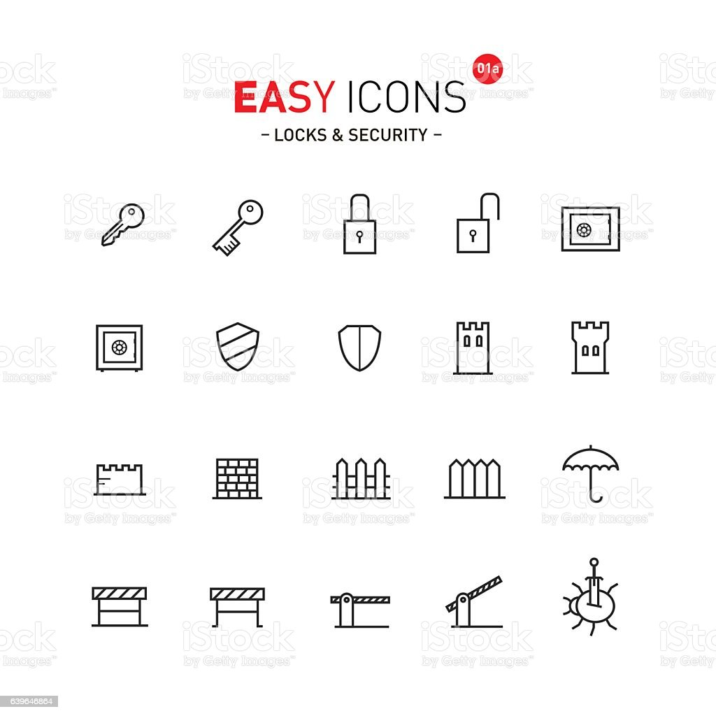 Easy icons 01a Security vector art illustration