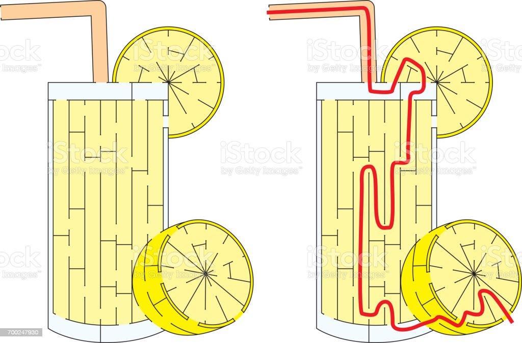 Easy lemonade maze vector art illustration