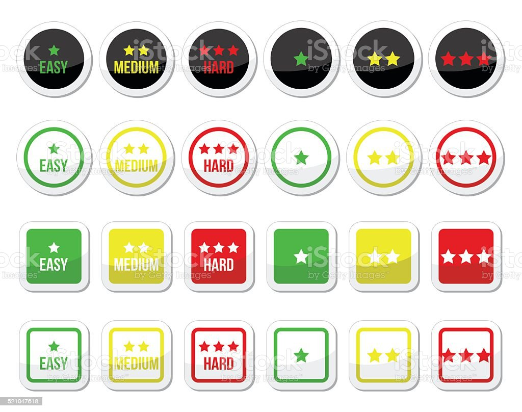Easy, medium, hard level with stars icons set vector art illustration