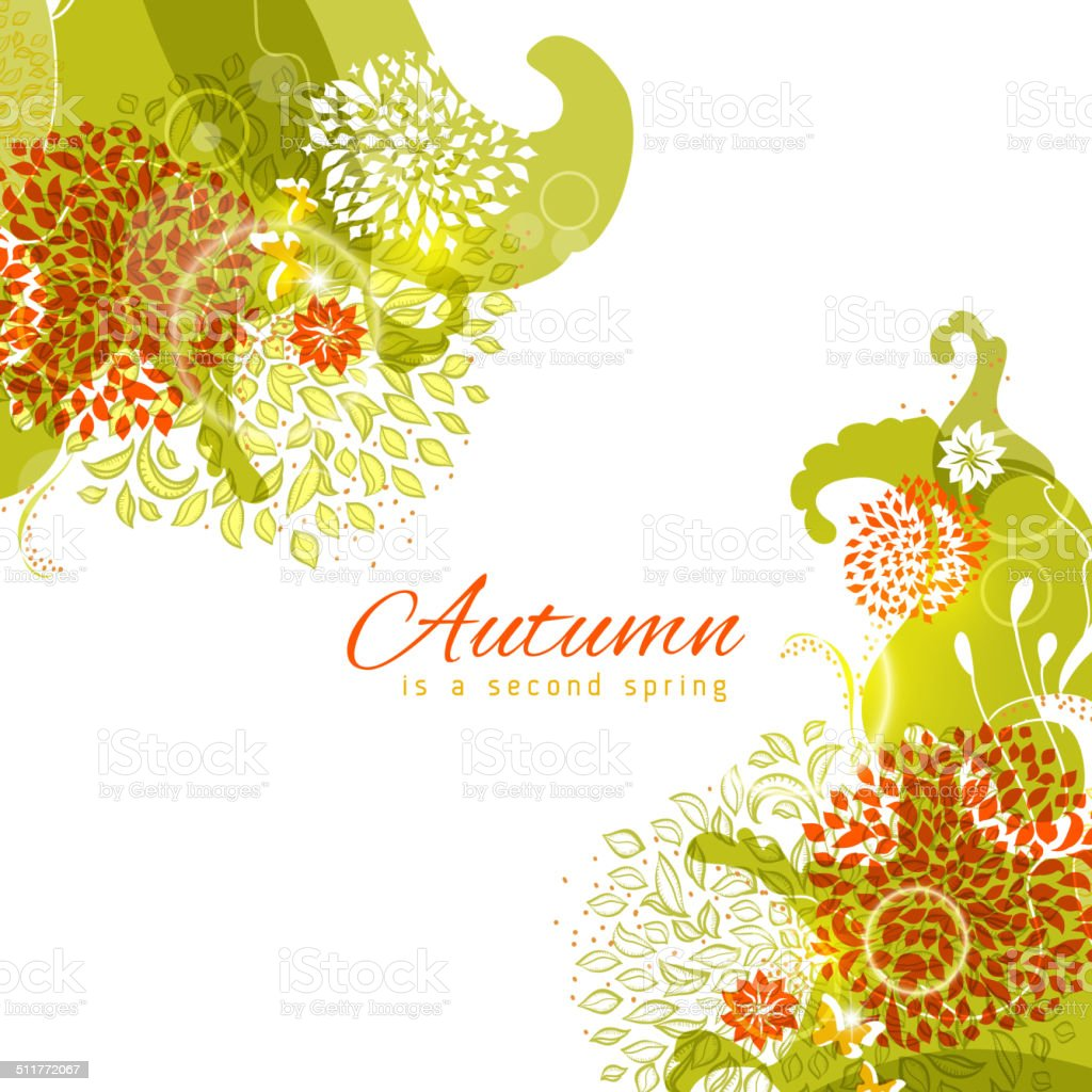 Easy multilayer autumn colors abstract floral angle frame vector art illustration