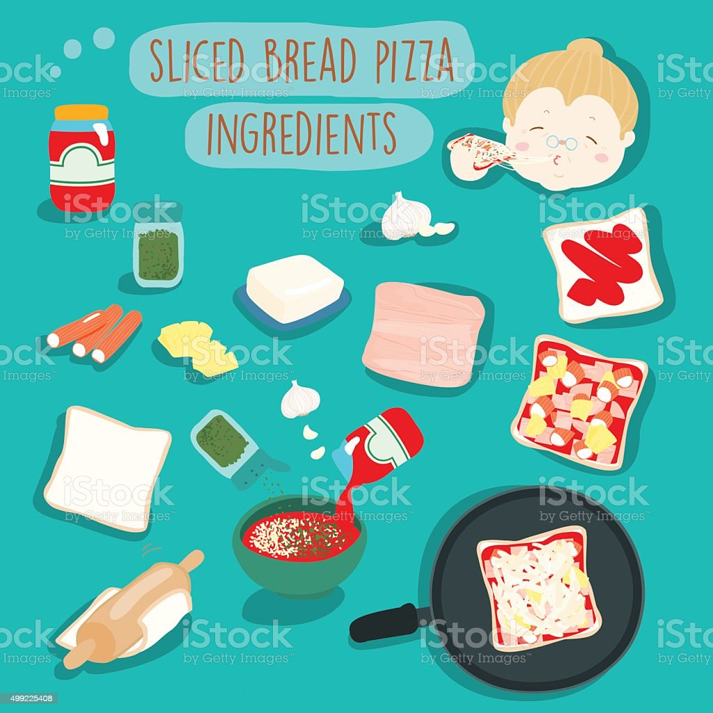 easy sliced bread pizza without oven ingredients vector illustra vector art illustration