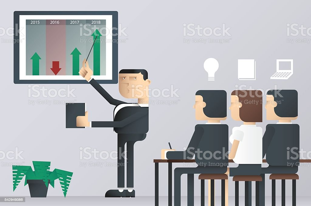 easy to edit vector illustration of business presentation class, businessman royalty-free stock vector art