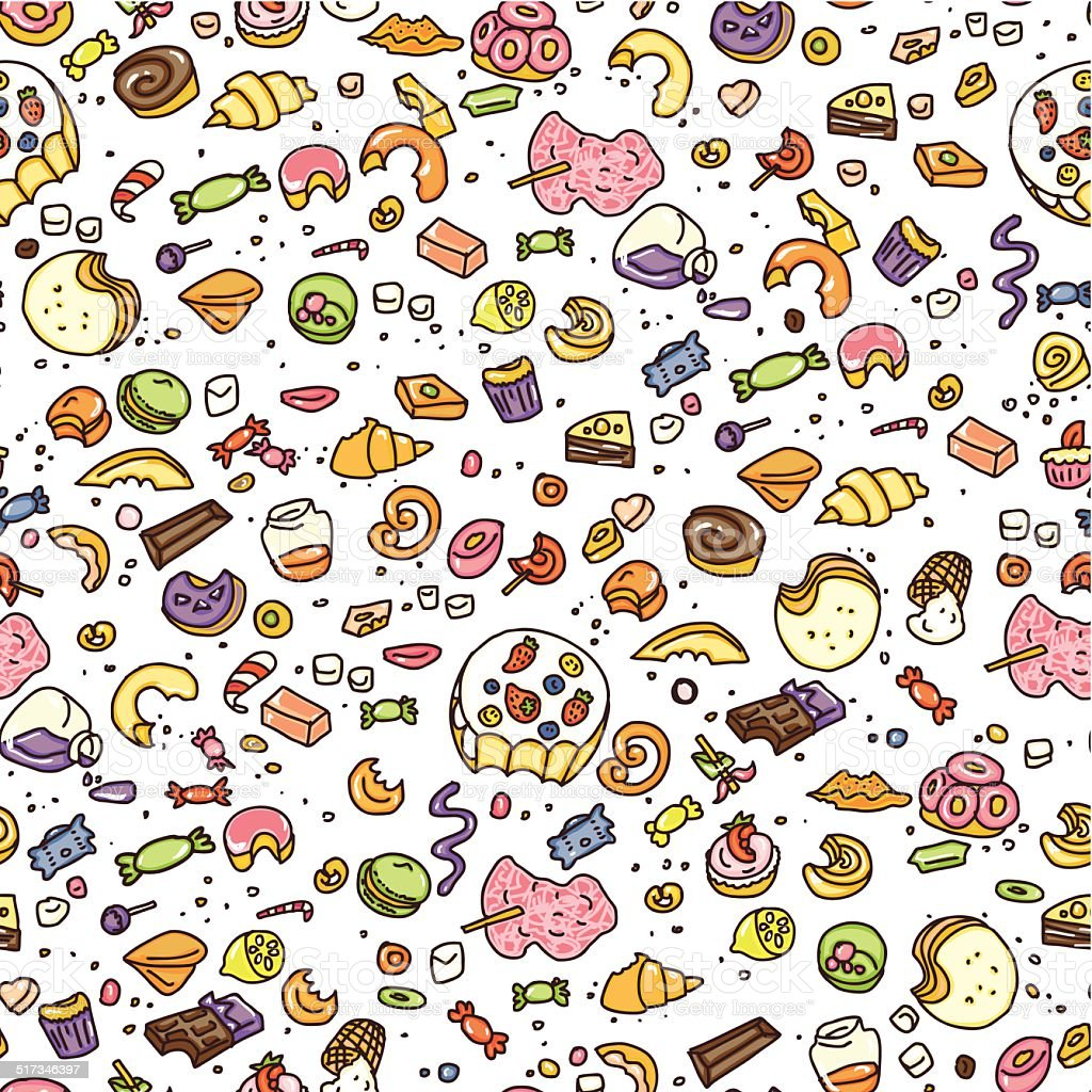 eat doodle candy  background vector art illustration