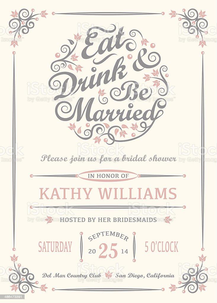 Essen, Trinken Und Hochzeit Einladung Lizenzfreies Vektor Illustration