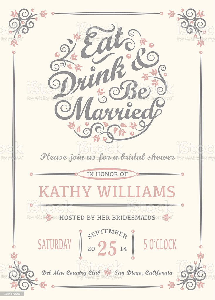 Eat Drink and Be Married Invitation vector art illustration