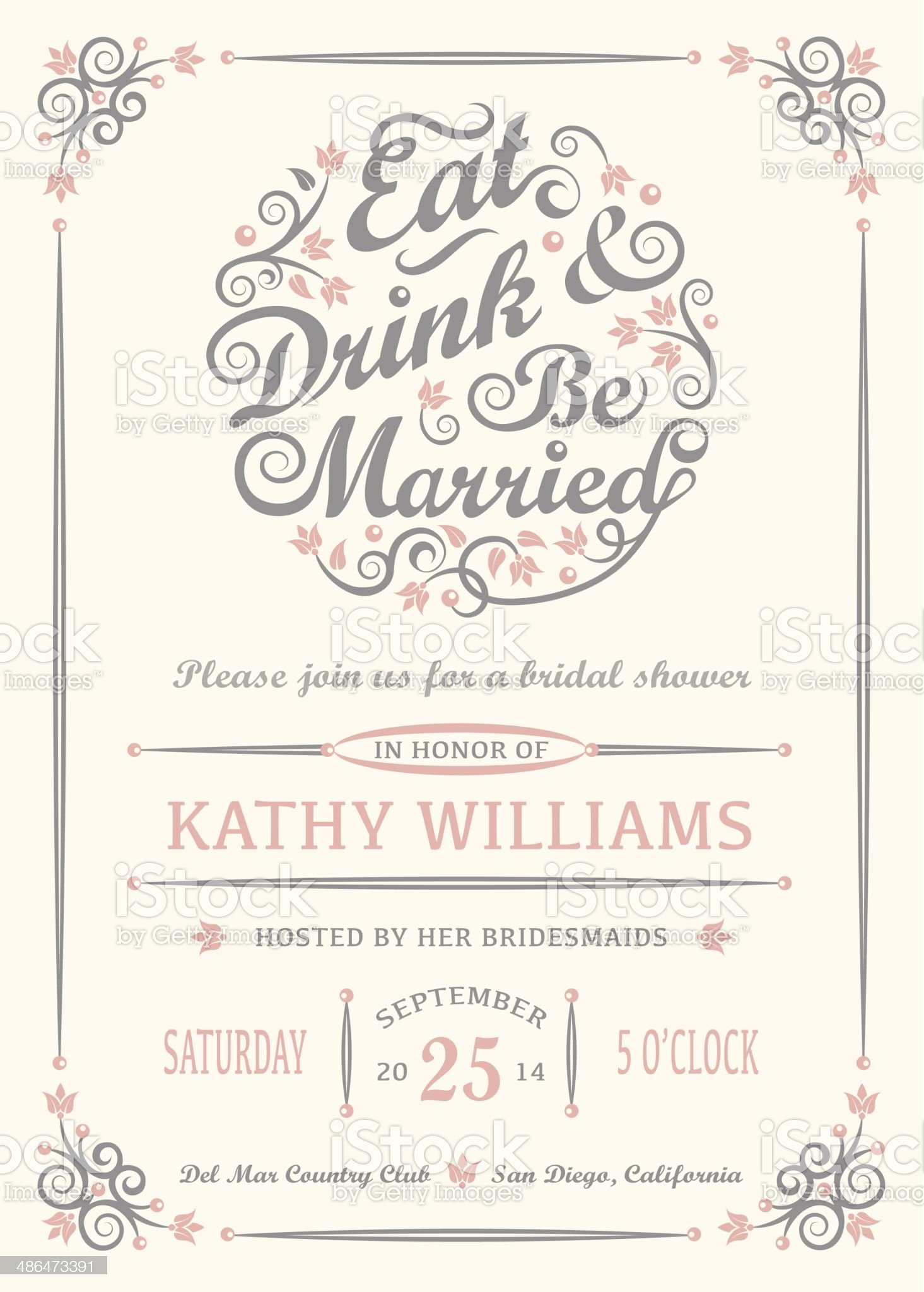 Eat Drink and Be Married Invitation royalty-free stock vector art