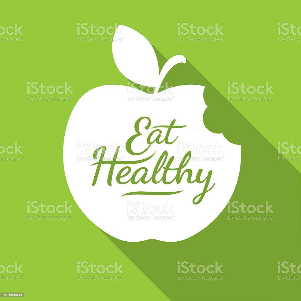 Eat Healthy Apple flat icon, Diet concept vector art illustration