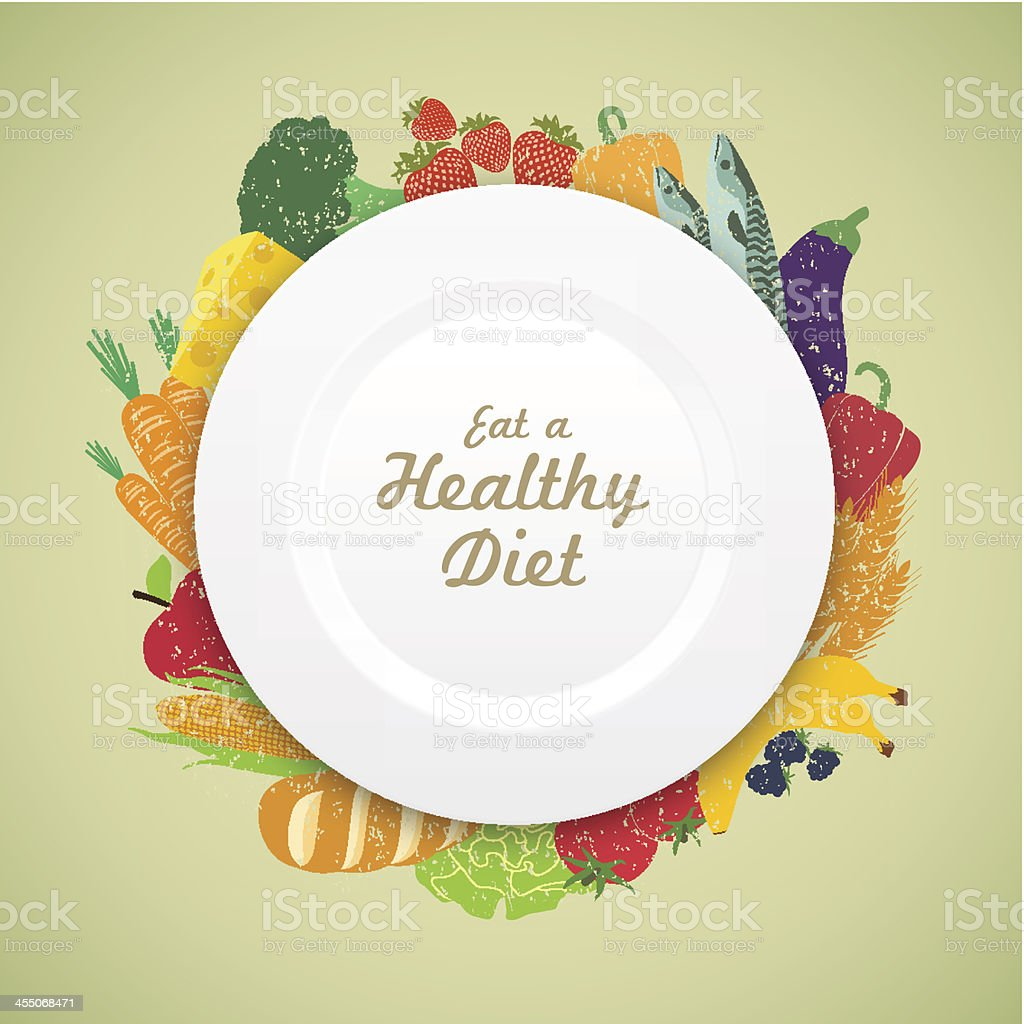 Eat Healthy Diet plate on a fresh variety of produce royalty-free stock vector art