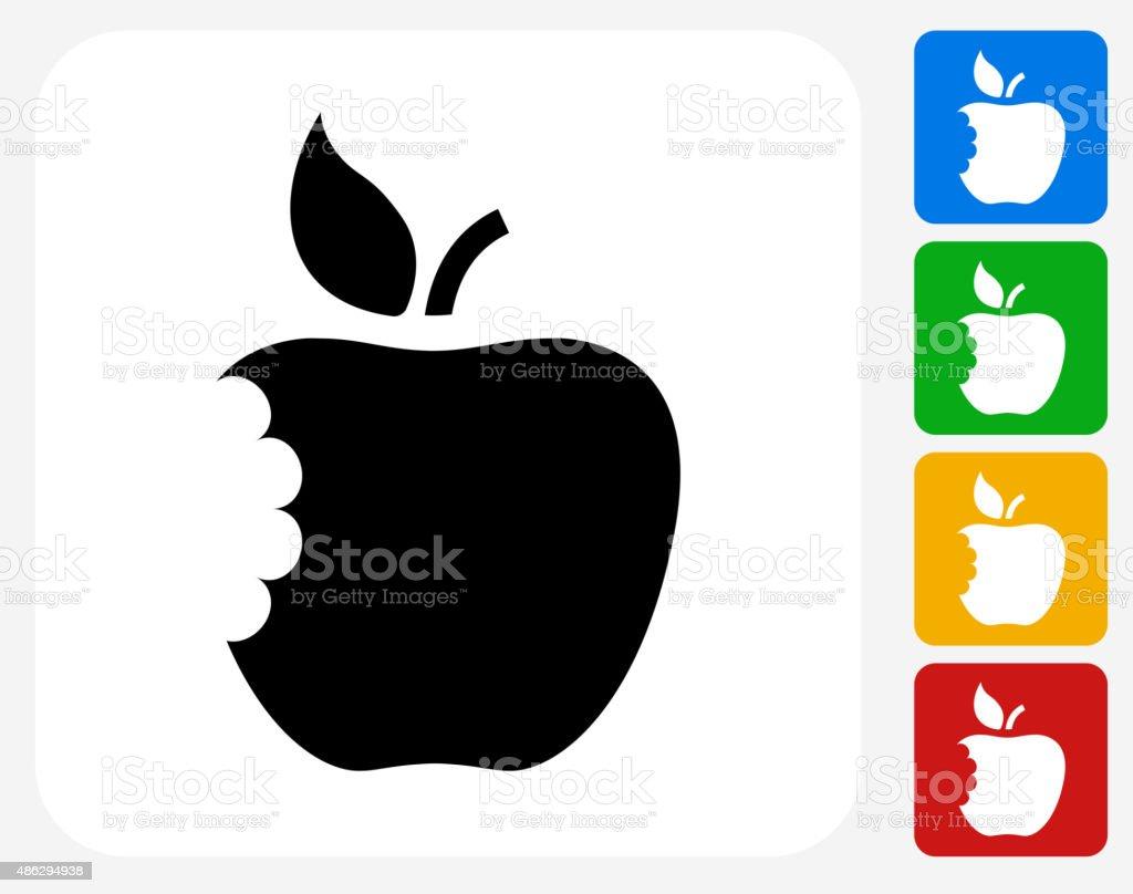 Eaten Apple Icon Flat Graphic Design vector art illustration