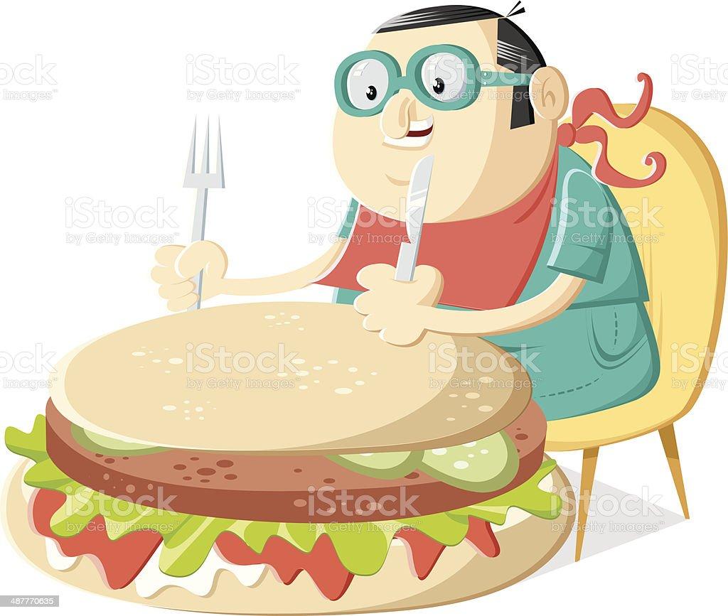eater on the table vector art illustration