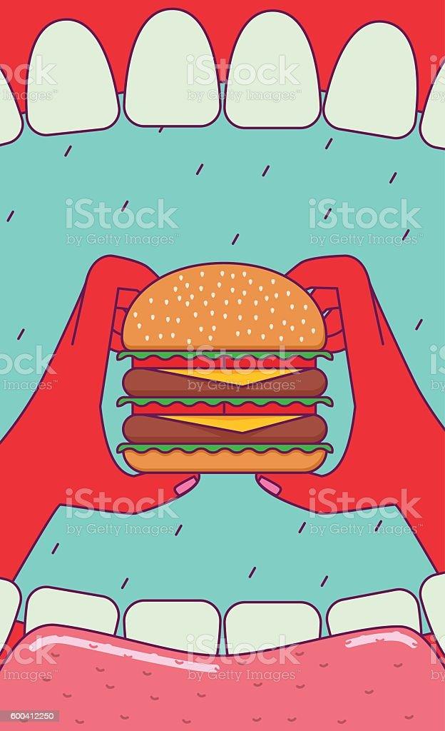 Eating big burger. vector art illustration