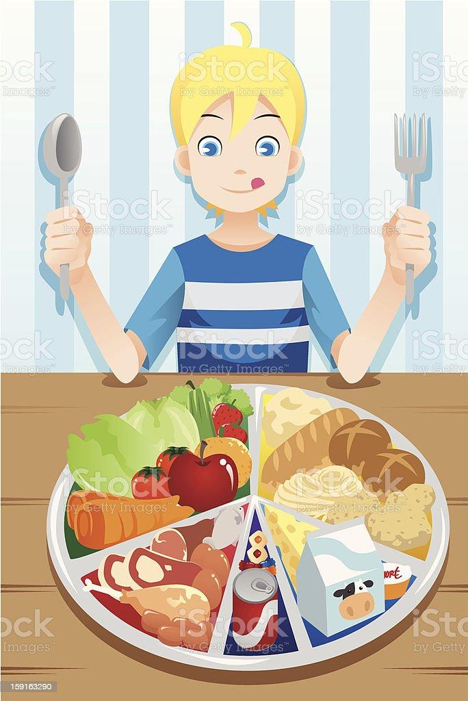 Eating boy royalty-free stock vector art