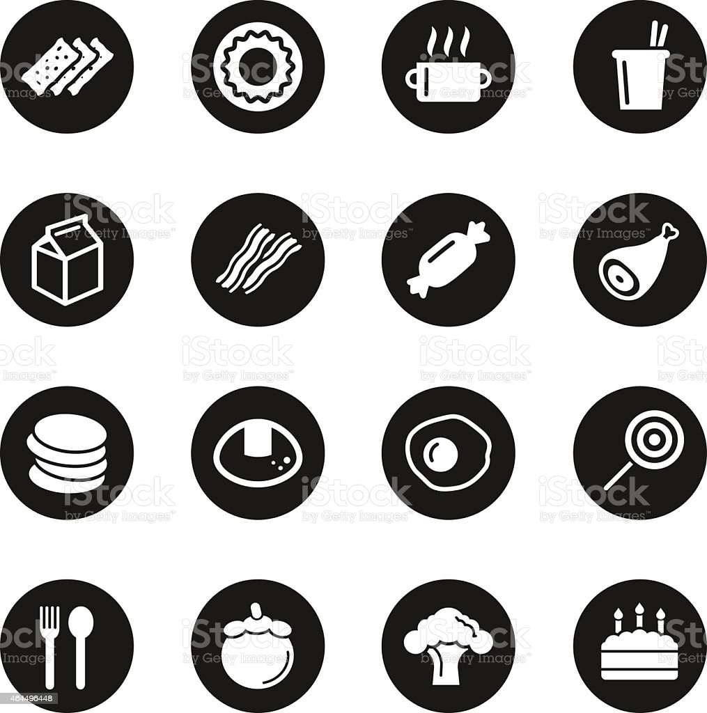 Eating Icons Set 1 - Black Circle Series vector art illustration