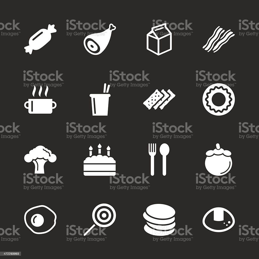 Eating Icons Set 1 - White Series | EPS10 royalty-free stock vector art
