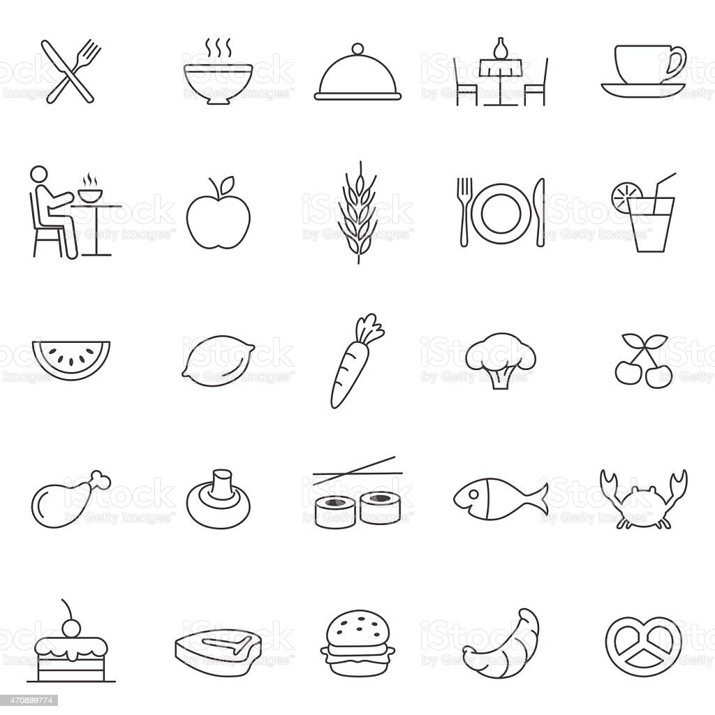 Eating line icons set.Vector vector art illustration