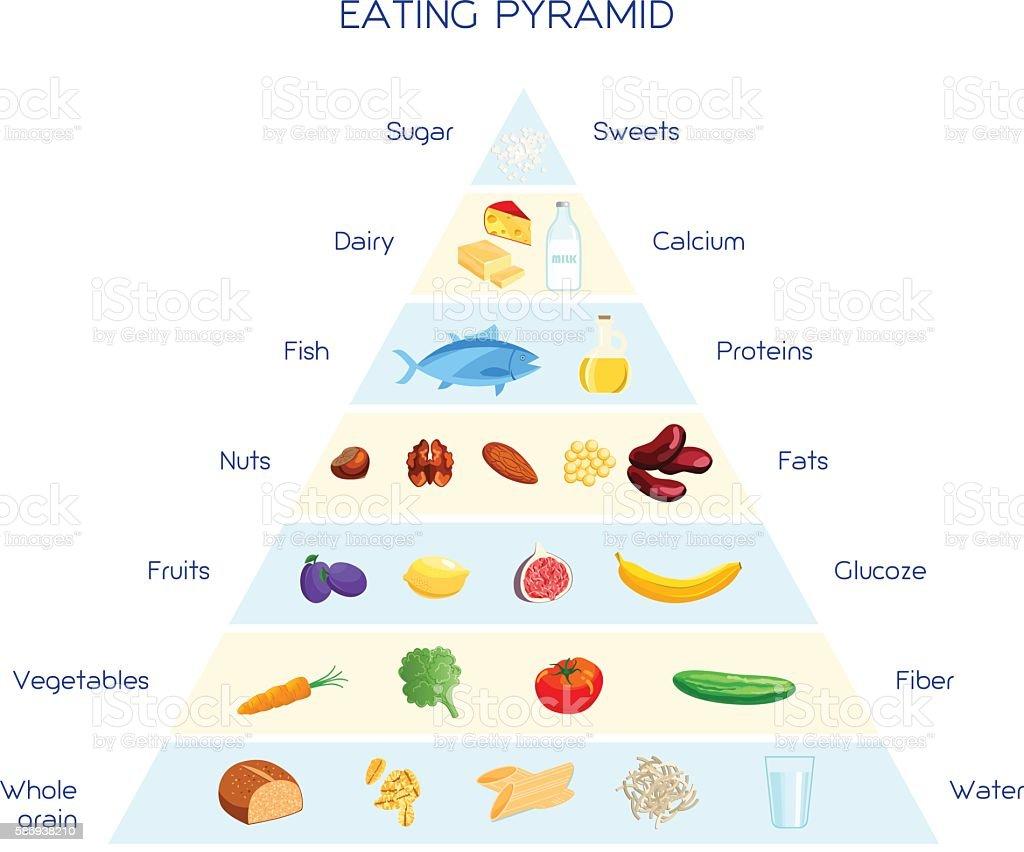 Eating pyramid concept vector art illustration