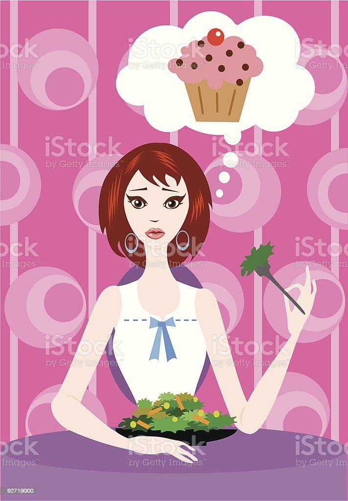 Eating Salad Thinking Cake royalty-free stock vector art