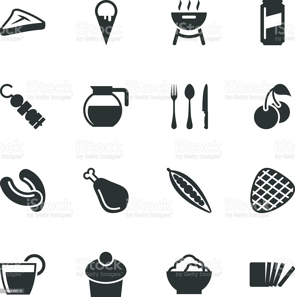 Eating Silhouette Icons | Set 3 royalty-free stock vector art