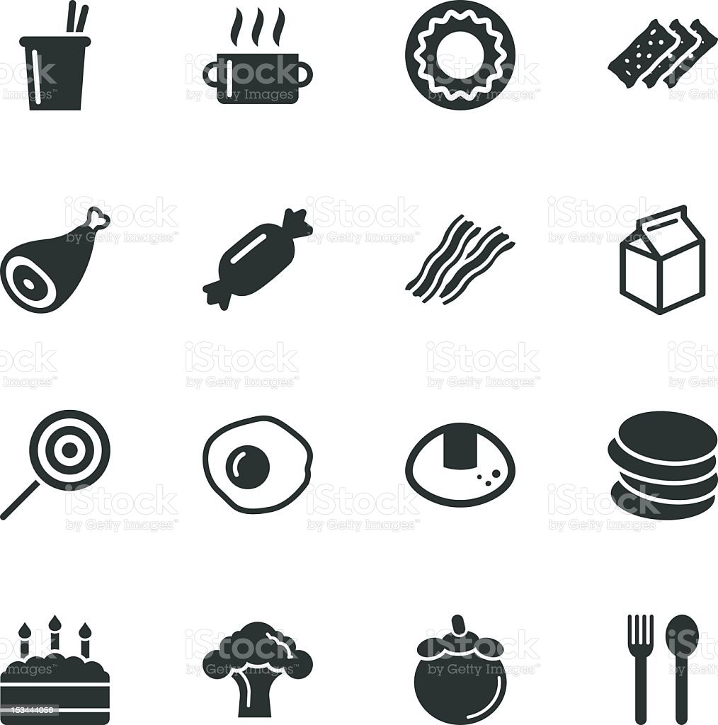 Eating Silhouette Icons vector art illustration