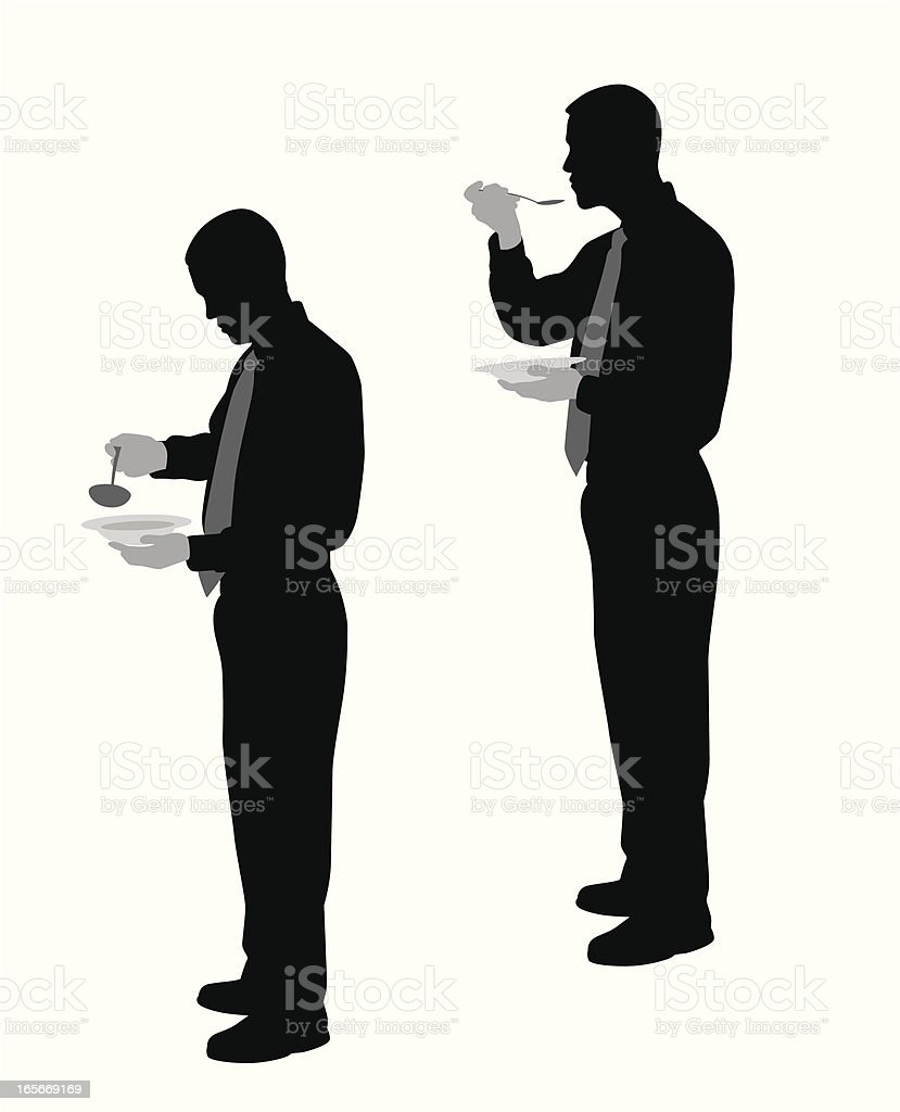 Eating Soup Vector Silhouette royalty-free stock vector art