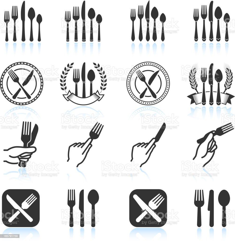 Eating Utensils black & white royalty free vector icon set vector art illustration