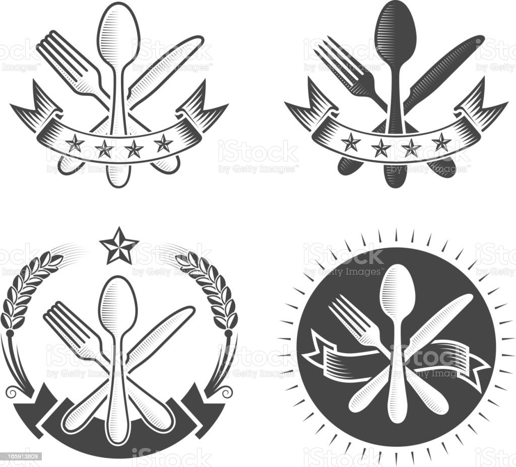 Eating Utensils on Black and White Badges royalty-free stock vector art