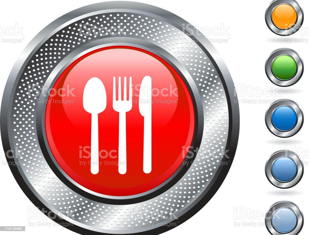 eating utensils royalty free vector art on metallic button royalty-free stock vector art
